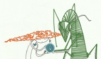 """ilustración laPara cuento """"El Rey de los grillos"""". Por Davel."""